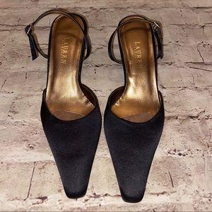 Ralph Lauren slip on heels ankle strap black 9.5 B